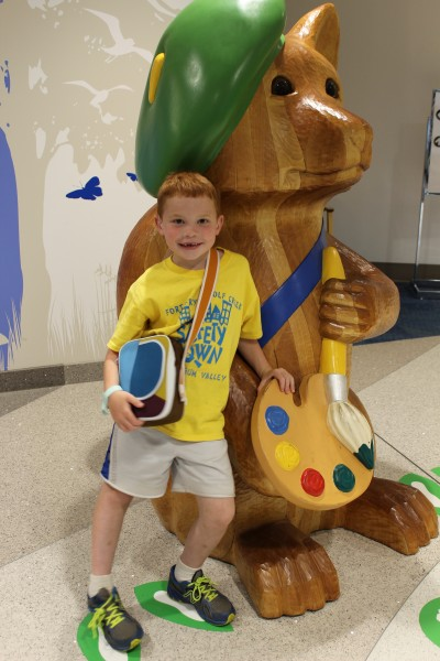 Colby at Nationwide Children's after getting hearing aids.